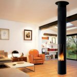 Focus - SLIMFOCUS gas fireplace on the leg, closed combustion chamber