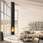 Focus - suspended SLIMFOCUS wood fireplace with rotating system